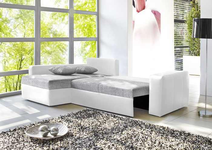 ecksofa vida 244x174cm grau wei couch sofa polsterecke schlafsofa bettkasten ebay. Black Bedroom Furniture Sets. Home Design Ideas