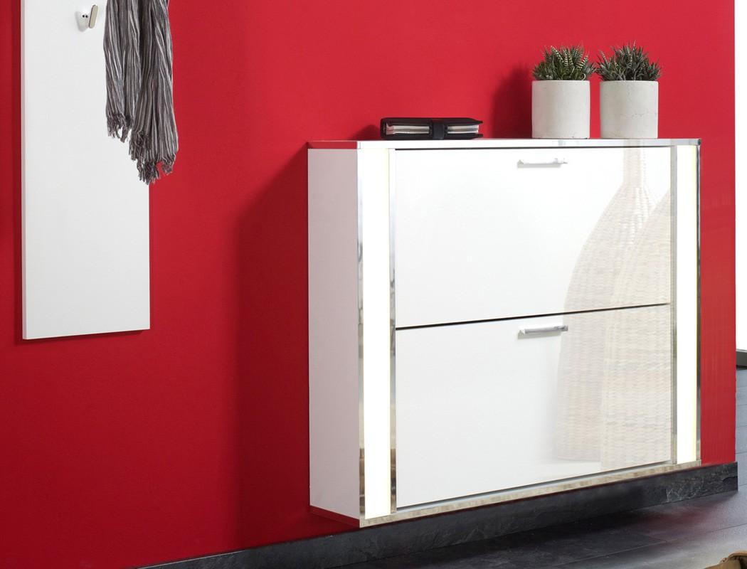 garderoben set 3 teilig wei wandpaneel spiegel schuhschrank beleuchtet duena ebay. Black Bedroom Furniture Sets. Home Design Ideas