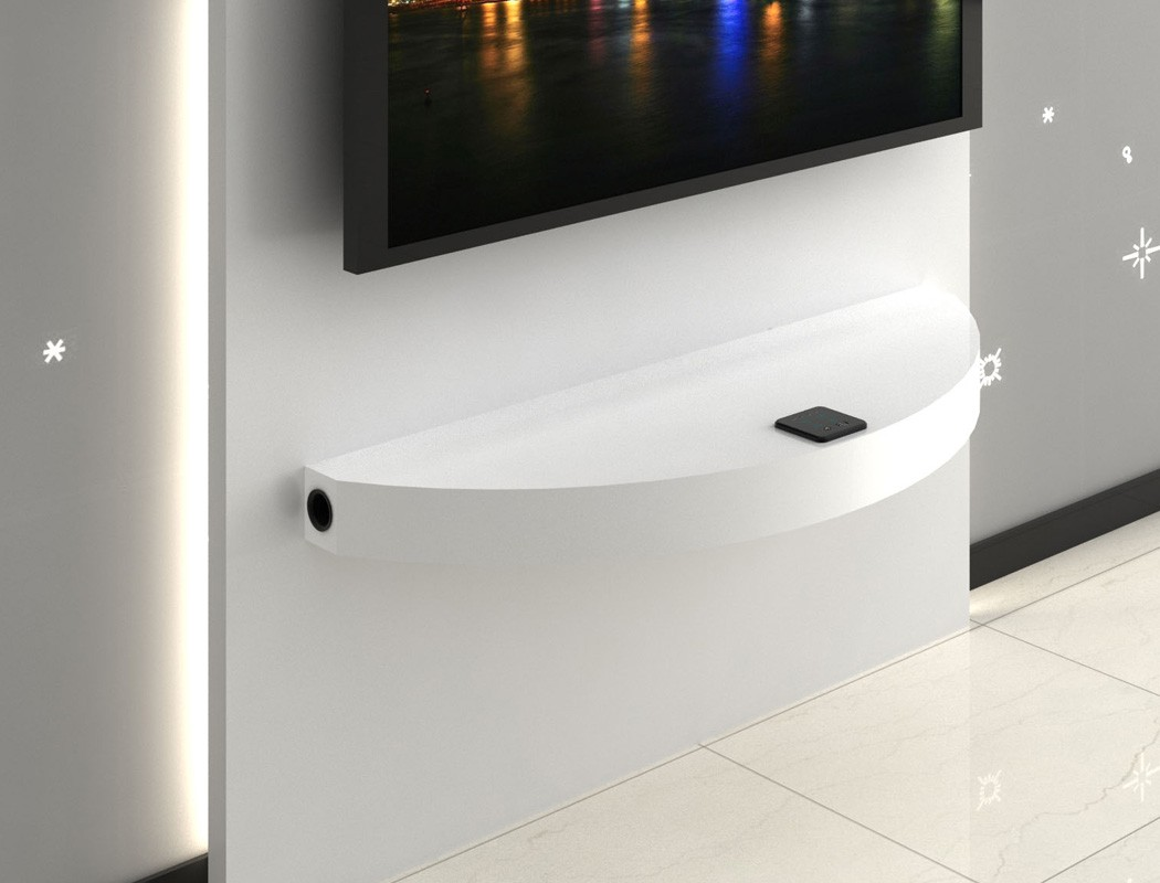 hifi wandboard hochglanz wei 100x8x35 cm tv rack multimedia station arcadios ebay. Black Bedroom Furniture Sets. Home Design Ideas