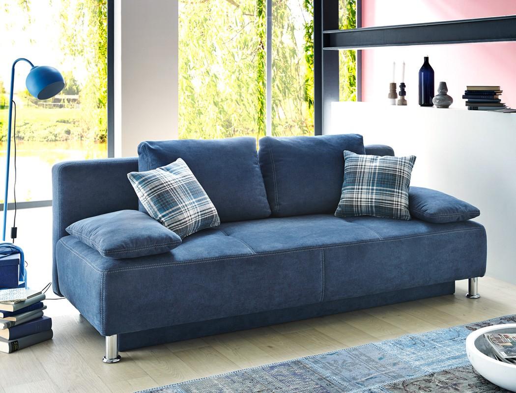 Funktionssofa 203x97 cm mikrofaser blau schlafsofa sofa for Schlafsofa designklassiker