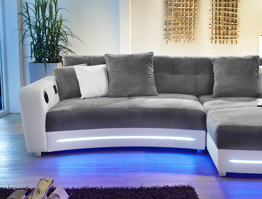 details zu multimedia sofa 322x200cm grau wei mikrofaser couch hifi. Black Bedroom Furniture Sets. Home Design Ideas