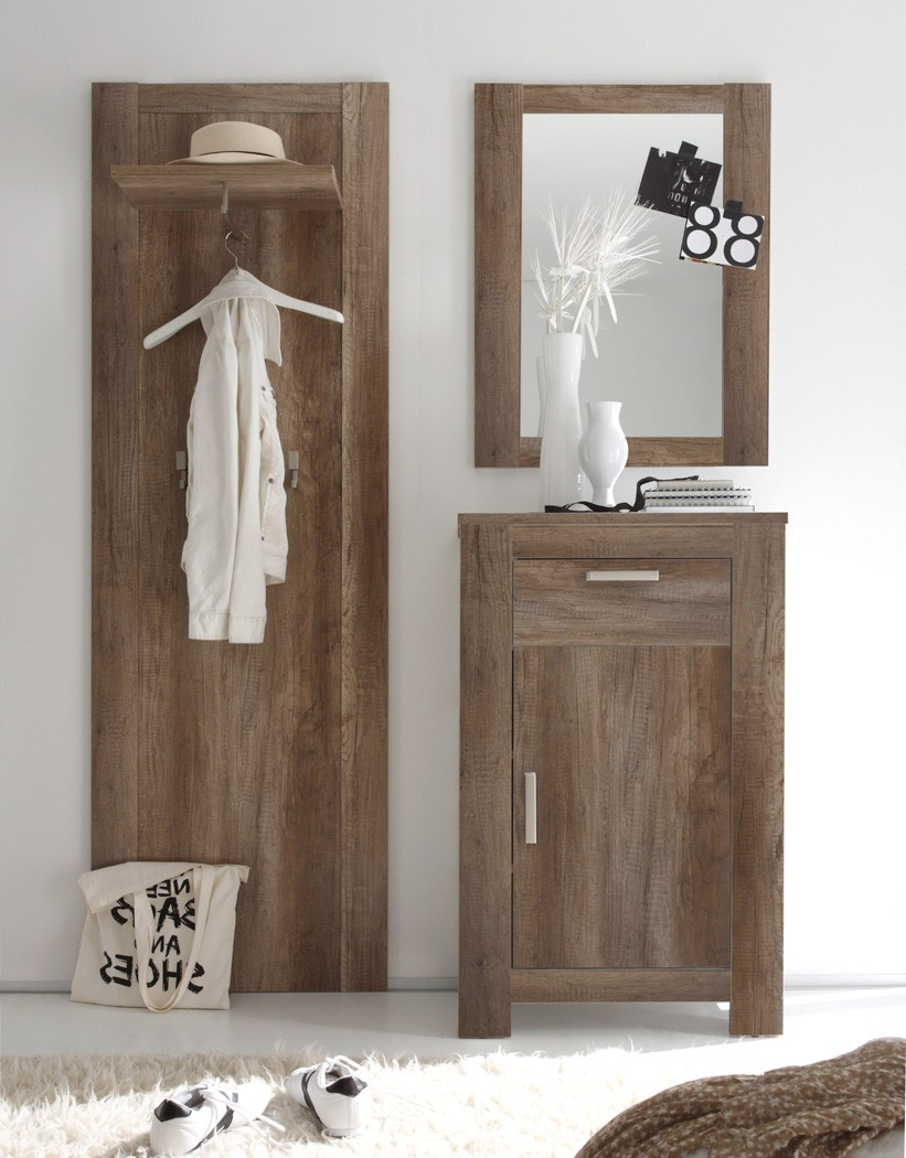 garderobe eiche monument 3 teilig garderobenset. Black Bedroom Furniture Sets. Home Design Ideas