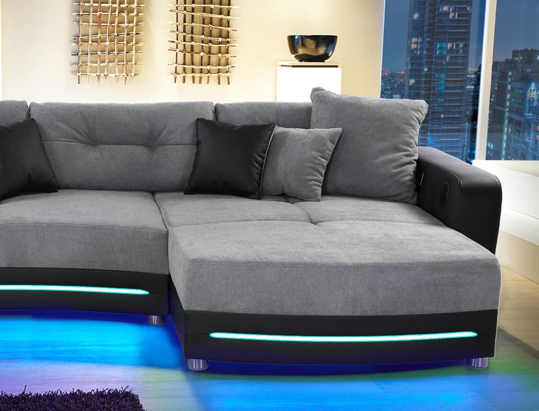 multimedia sofa 322x200 cm grau schwarz mikrofaser hifi. Black Bedroom Furniture Sets. Home Design Ideas
