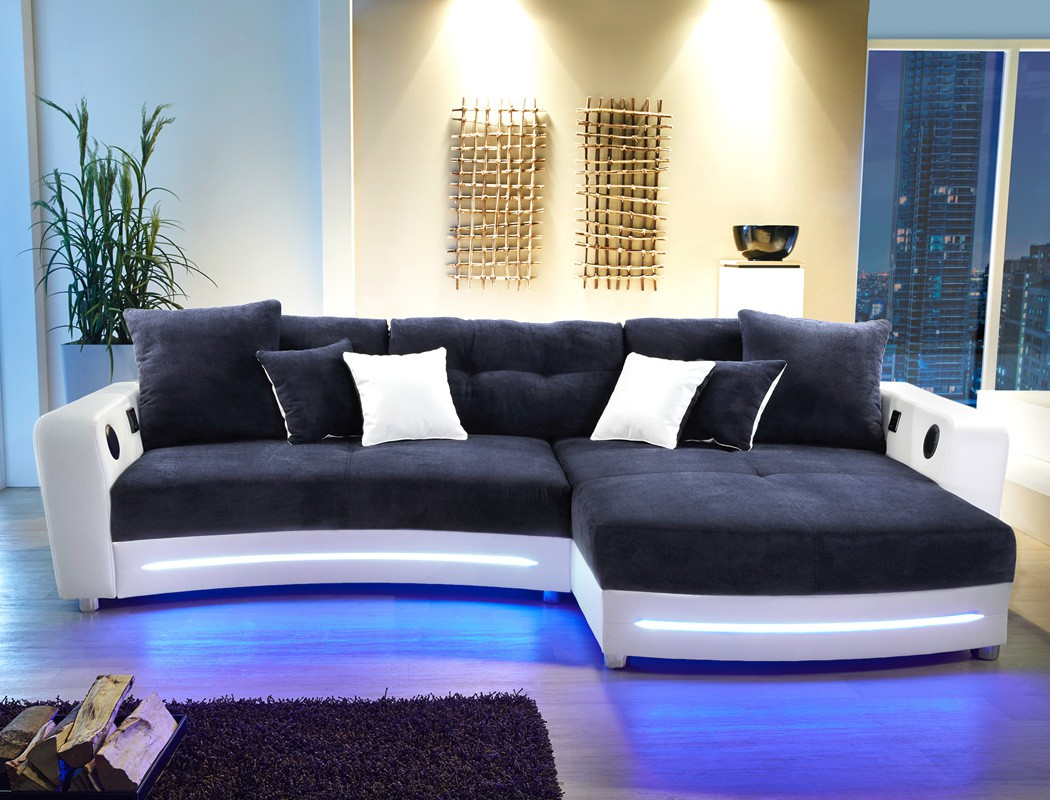 multimedia sofa 322x200cm dunkelblau wei mikrofaser hifi wohnlandschaft larenio ebay. Black Bedroom Furniture Sets. Home Design Ideas