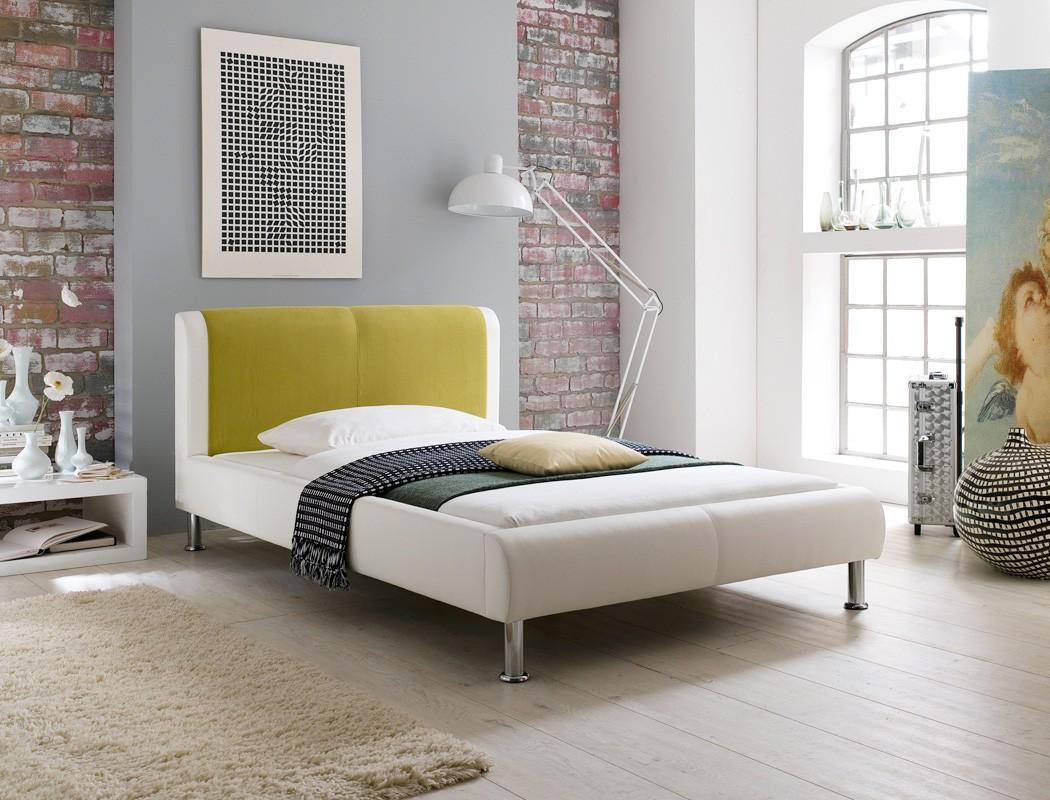 polsterbett bett 120x200 cremewei gr n designerbett. Black Bedroom Furniture Sets. Home Design Ideas