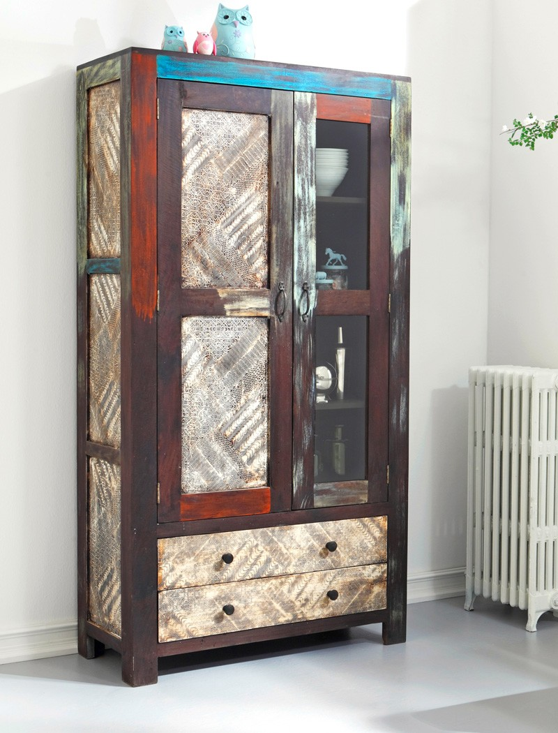 vitrine 100x190x41 cm mango metall glasvitrine schrank used look vintage punjab ebay. Black Bedroom Furniture Sets. Home Design Ideas
