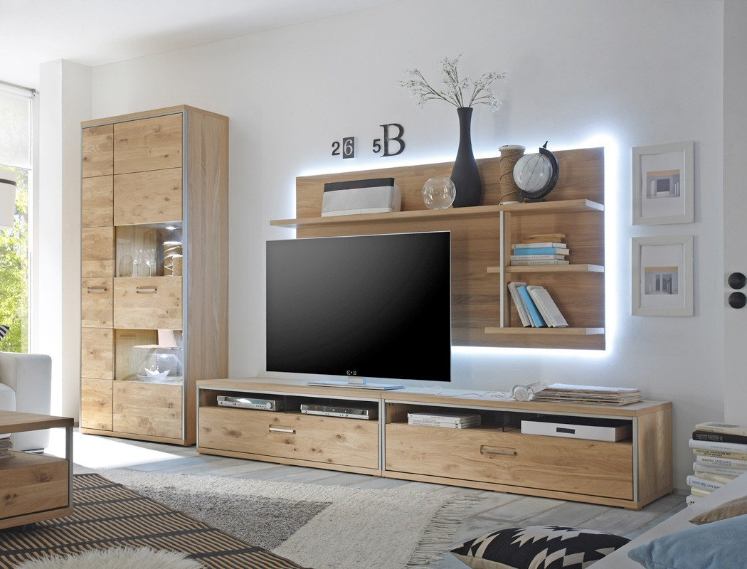 wohnwand eiche bianco 4 teilig medienwand tv wand wohnzimmer beleuchtung esma 24 ebay. Black Bedroom Furniture Sets. Home Design Ideas