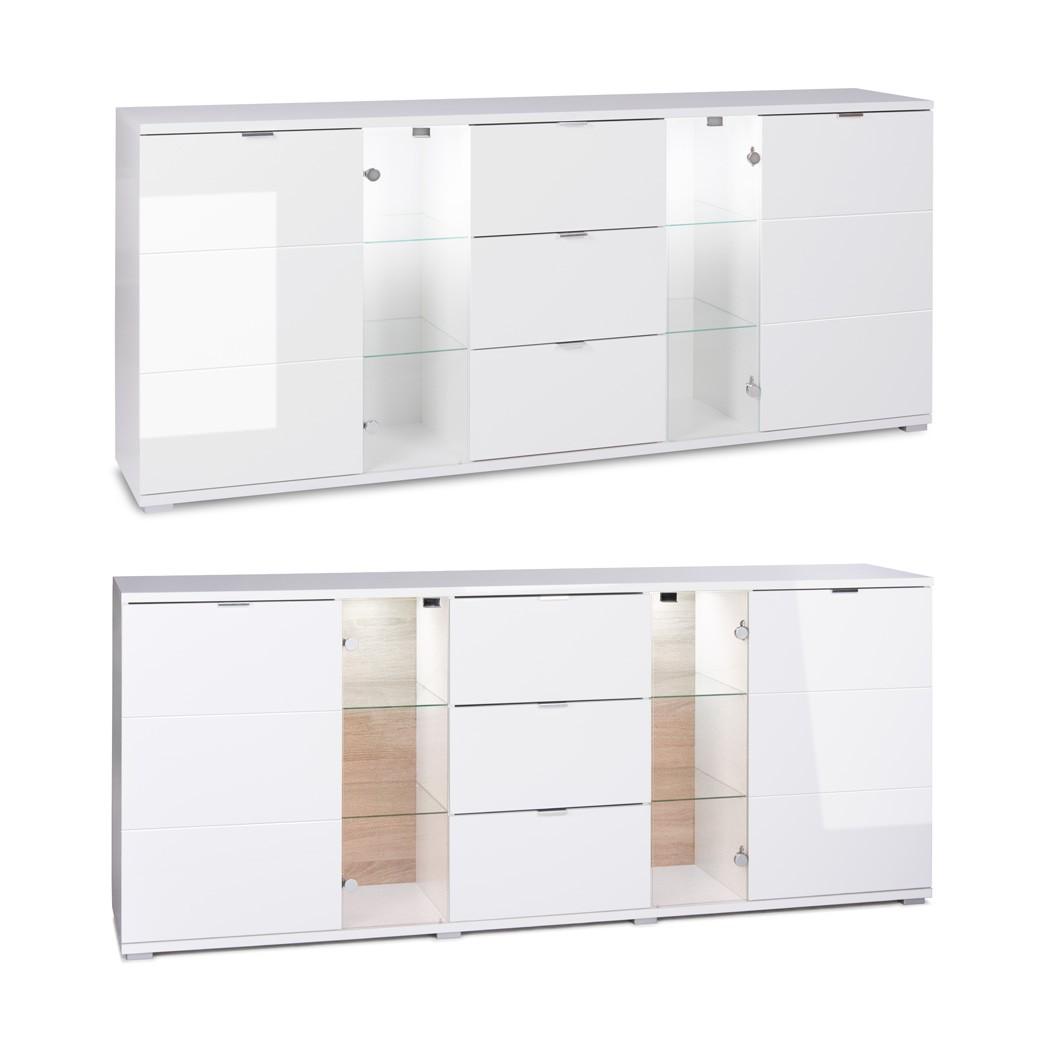 Sideboard hochglanz wei 200x85x40 cm anrichte mit for Sideboard 260 cm