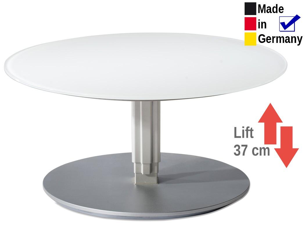 couchtisch rund 80x39 76 cm h henverstellbar glasplatte. Black Bedroom Furniture Sets. Home Design Ideas