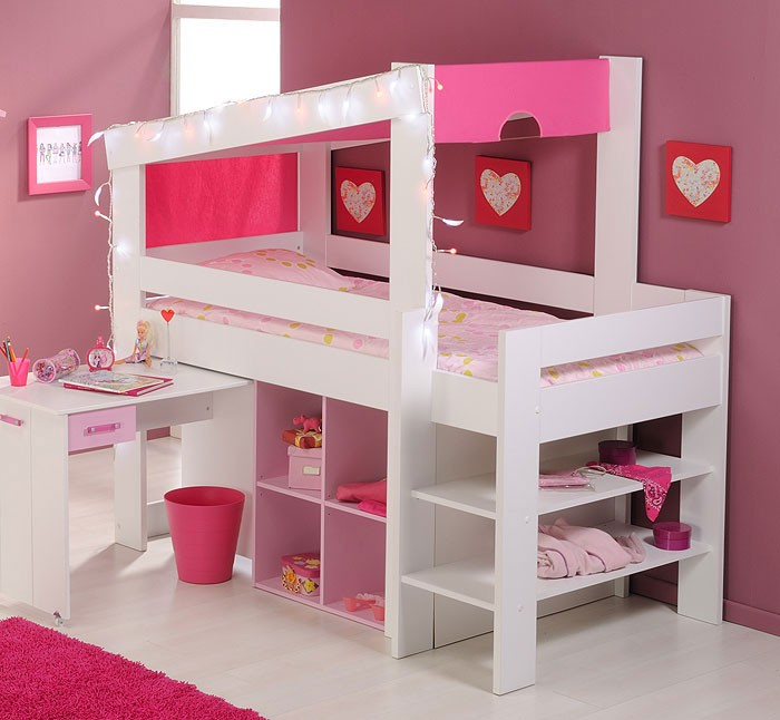 hochbett beauty 5 90x200cm wei rosa kinderbett. Black Bedroom Furniture Sets. Home Design Ideas