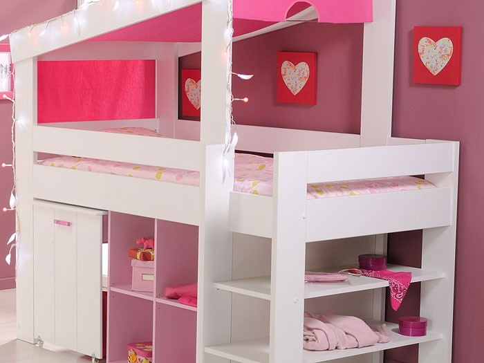 kinderzimmer beauty 6 wei rosa schrank hochbett kinderbett himmelbett. Black Bedroom Furniture Sets. Home Design Ideas