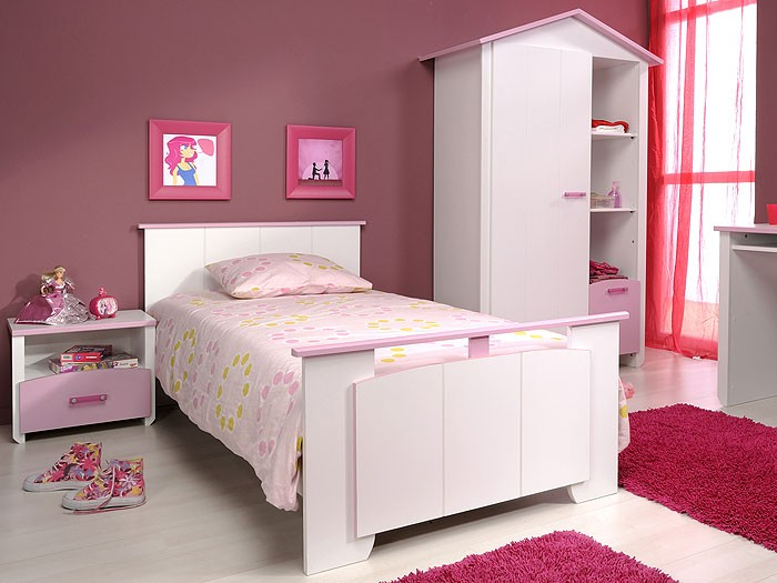 kinderzimmer beauty 7 4 teilig wei rosa schrank bett nachttisch schreibtisch ebay. Black Bedroom Furniture Sets. Home Design Ideas