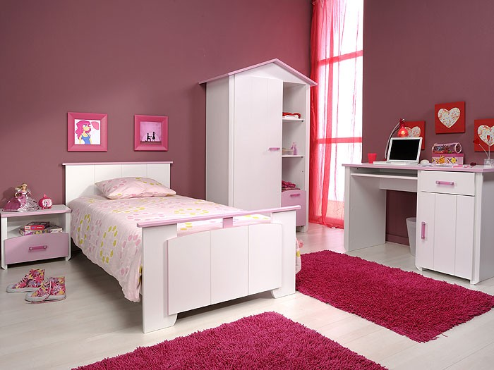 kinderzimmer beauty 7 4 teilig wei rosa schrank bett. Black Bedroom Furniture Sets. Home Design Ideas