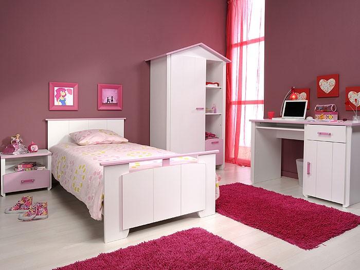 Kinderzimmer beauty 7 4 teilig wei rosa schrank bett for Kinderzimmer nachttisch