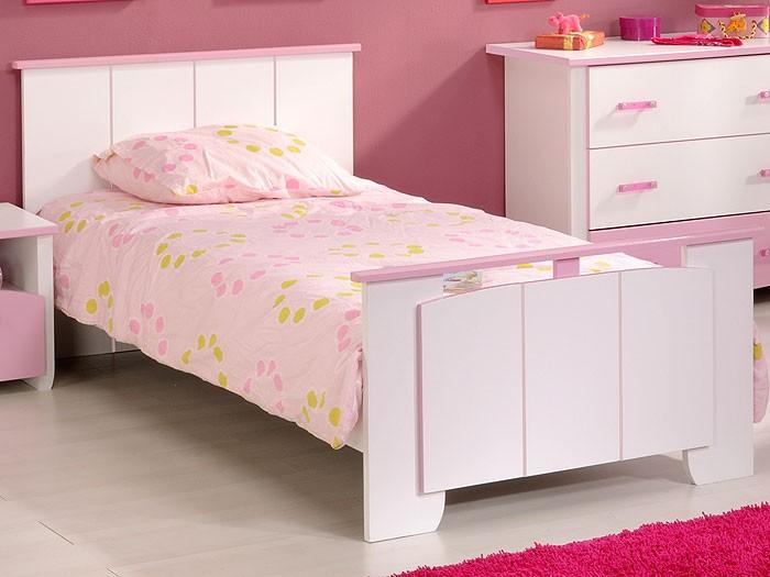 Kinderbett beauty 4 mit nachttisch 90x200cm wei rosa for Kinderzimmer nachttisch