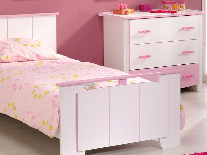 kinderzimmer beauty 3 3 teilig wei rosa lackiert bett nachttisch kommode ebay. Black Bedroom Furniture Sets. Home Design Ideas