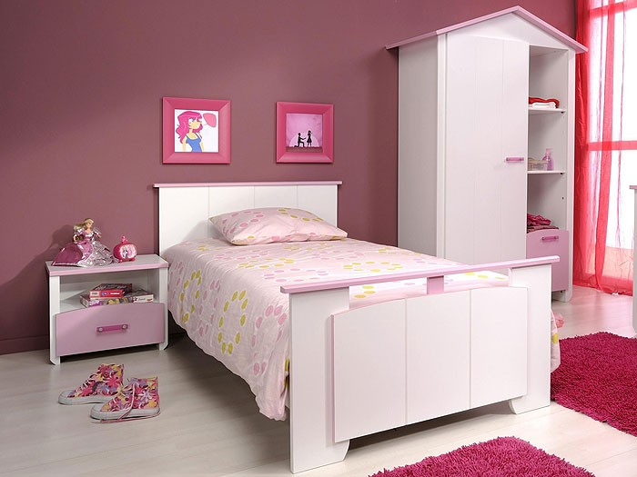 kinderzimmer beauty 2 3 teilig wei rosa kleiderschrank bett nachttisch. Black Bedroom Furniture Sets. Home Design Ideas