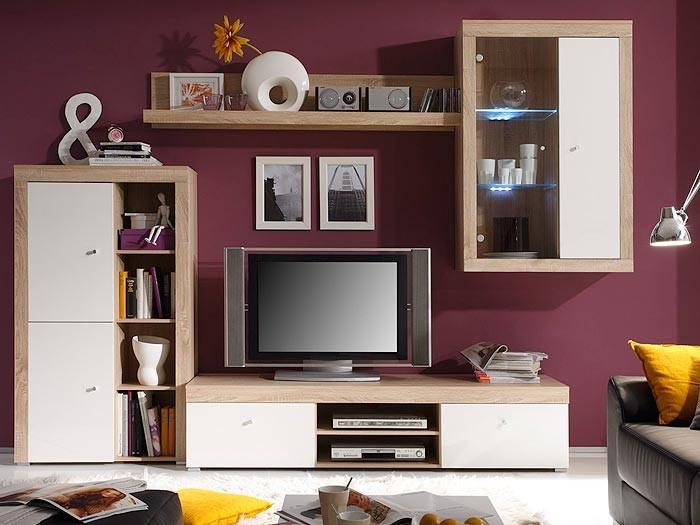 wohnwand schrankwand eiche sonoma wei 289x202x50cm anbauwand wohnzimmer space i ebay. Black Bedroom Furniture Sets. Home Design Ideas