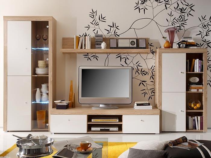 wohnwand schrankwand eiche sonoma wei 334x191x50 anbauwand wohnzimmer space ii ebay. Black Bedroom Furniture Sets. Home Design Ideas