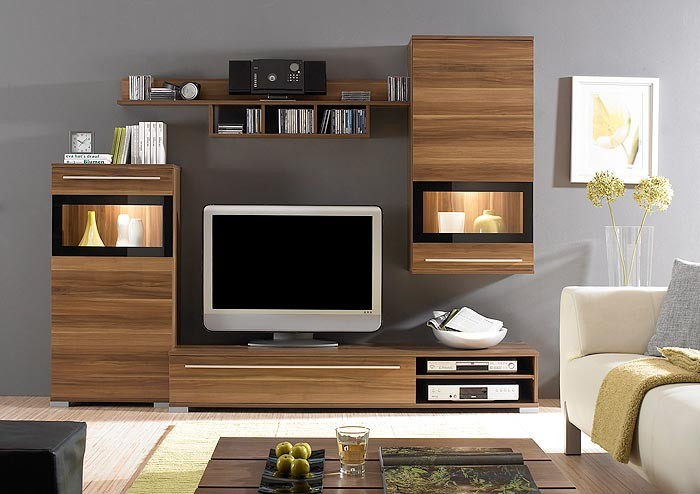 wohnwand schrankwand nussbaum 235x174x47 anbauwand. Black Bedroom Furniture Sets. Home Design Ideas