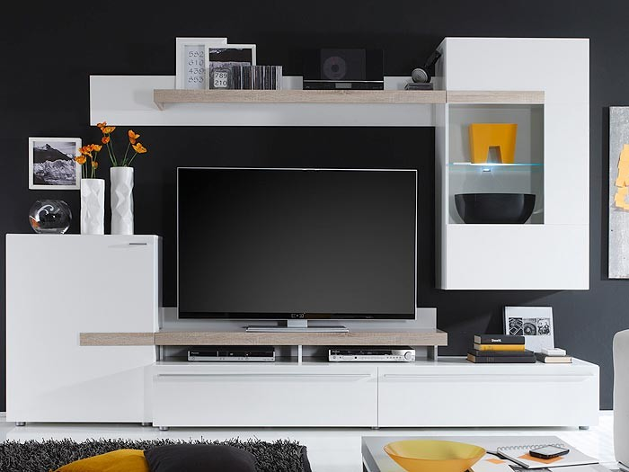 wohnwand schrankwand wei 282x190x47cm anbauwand wohnzimmer schrank piero ii ebay. Black Bedroom Furniture Sets. Home Design Ideas