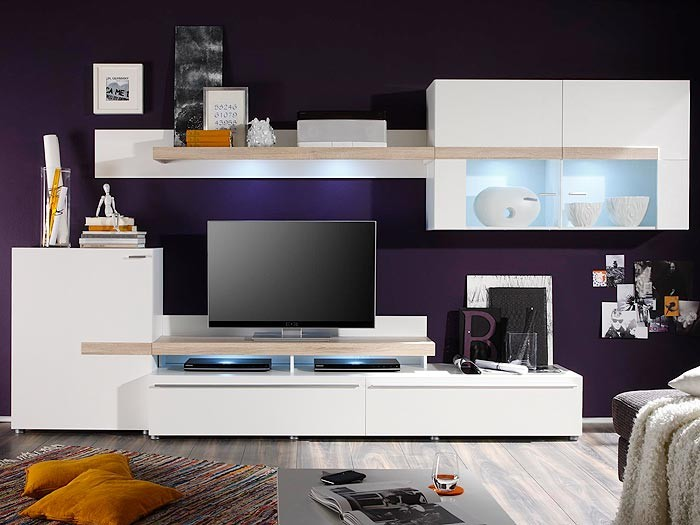 wohnwand schrankwand wei 339x175x47cm anbauwand wohnzimmer schrank piero iv ebay. Black Bedroom Furniture Sets. Home Design Ideas