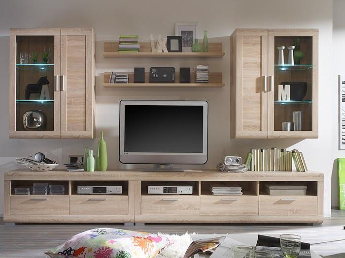 schrankwand wohnwand eiche sonoma nb 309x193x53cm wohnzimmer schrank alive i. Black Bedroom Furniture Sets. Home Design Ideas