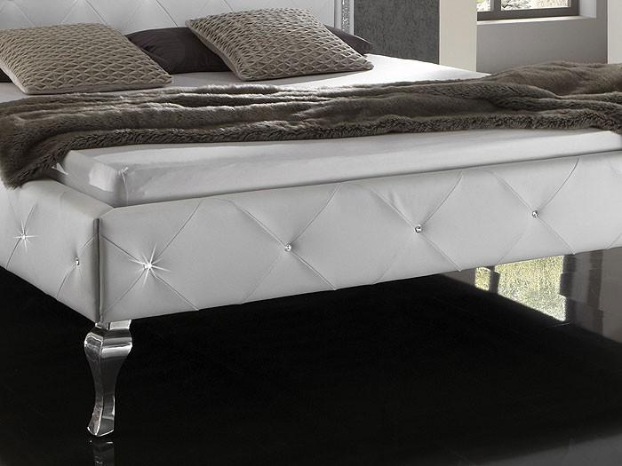 polsterbett wei nerja kunstleder swarovski elements. Black Bedroom Furniture Sets. Home Design Ideas