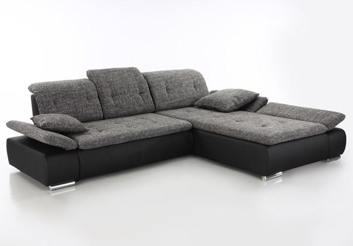 Sofa couch amelie 297x215cm anthrazit schwarz for Wohnlandschaft kunstleder schwarz