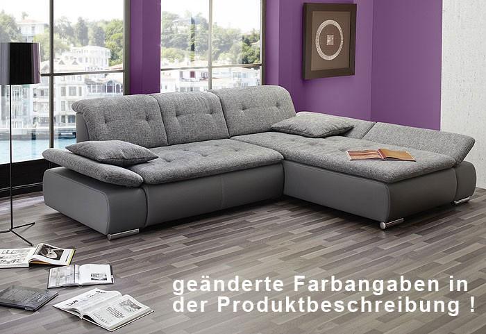 sofa couch amelie 297x215cm hellgrau wei polsterecke ecksofa couchecke ebay. Black Bedroom Furniture Sets. Home Design Ideas