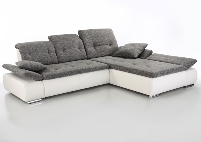 sofa couch amelie 297x215cm hellgrau wei polsterecke ecksofa couchecke ebay. Black Bedroom Furniture Sets. Home Design Ideas