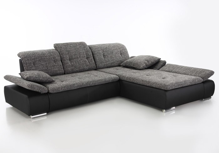 Wohnlandschaft amelie 297x215cm mit hocker anthrazit for Couch mit hocker