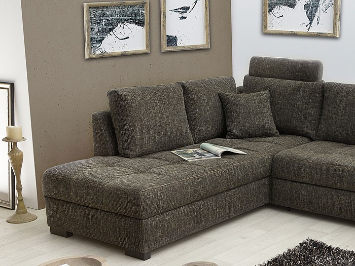 polsterecke aurum braun grau 267x221cm bettfunktion sofa couch wohnbereiche wohnzimmer sofa. Black Bedroom Furniture Sets. Home Design Ideas