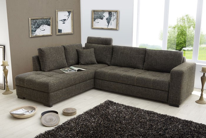 polsterecke sofa mit bettfunktion 269x226cm braun eckcouch. Black Bedroom Furniture Sets. Home Design Ideas