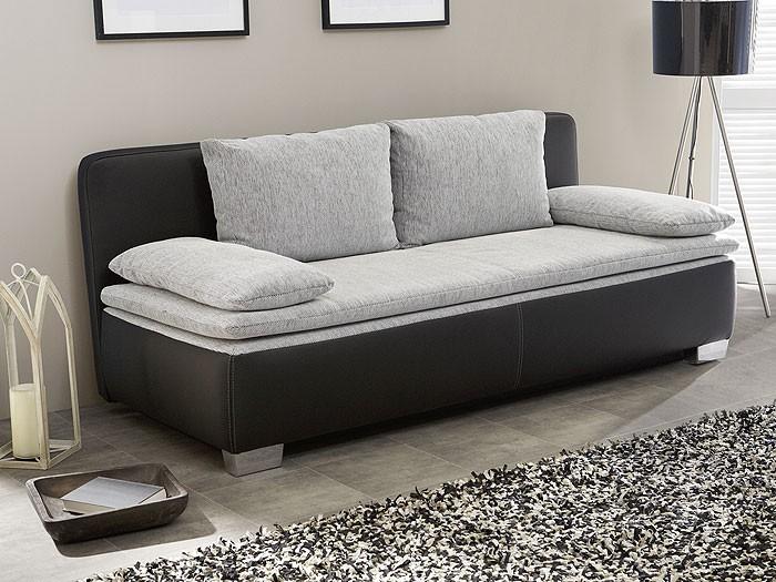 schlafsofa couch duana 203x90cm hellgrau schwarz. Black Bedroom Furniture Sets. Home Design Ideas