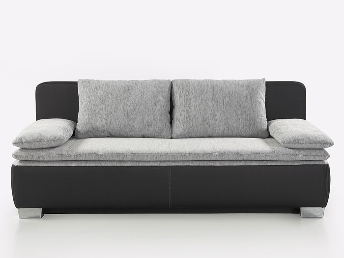 schlafsofa couch duana 203x90cm hellgrau schwarz schlafcouch sofa doppelliege ebay. Black Bedroom Furniture Sets. Home Design Ideas