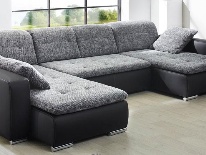 sofa couch ferun 365x200 185cm webstoff anthrazit kunstleder schwarz wohnbereiche wohnzimmer. Black Bedroom Furniture Sets. Home Design Ideas