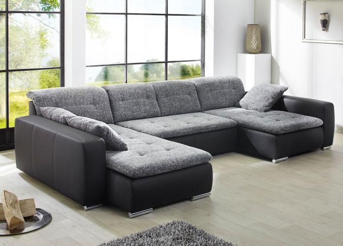 sofa couch ferun 365x200 185cm webstoff anthrazit kunstleder schwarz wohnbereiche wohnzimmer