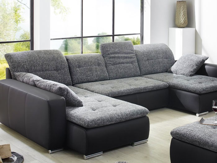 mit hocker ferun 365x220 185cm anthrazit schwarz sofa couch ebay. Black Bedroom Furniture Sets. Home Design Ideas