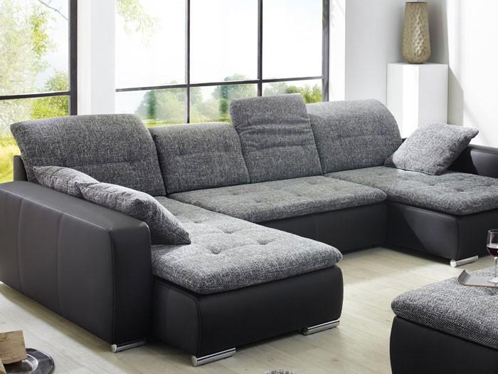 wohnlandschaft mit hocker ferun 365x220 185cm anthrazit. Black Bedroom Furniture Sets. Home Design Ideas