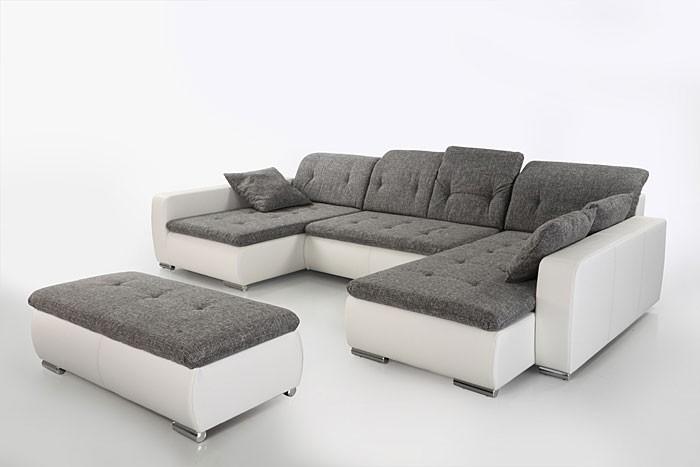 sofa couch ferun 365x200 185cm mit hocker hellgrau wei. Black Bedroom Furniture Sets. Home Design Ideas