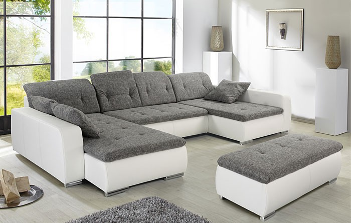 sofa couch ferun 365x200 185cm mit hocker hellgrau wei polsterecke wohnbereiche wohnzimmer. Black Bedroom Furniture Sets. Home Design Ideas