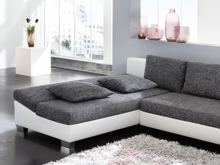 ecksofa isola 285x209cm anthrazit wei sofa couch schlafsofa schlafcouch liege ebay. Black Bedroom Furniture Sets. Home Design Ideas