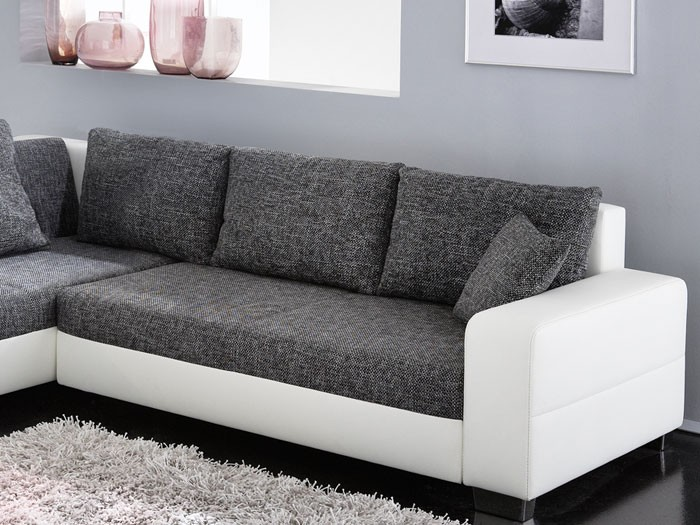 ecksofa isola 285x209cm anthrazit wei sofa couch schlafsofa schlafcouch liege ebay. Black Bedroom Furniture Sets. Home Design Ideas