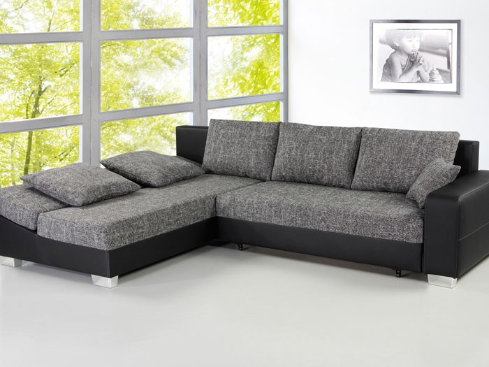 sofa couch isola 285x209cm anthrazit schwarz schlafsofa wohnlandschaft eckcouch ebay. Black Bedroom Furniture Sets. Home Design Ideas