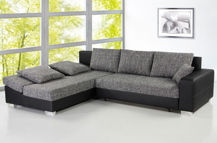 Sofa couch isola 285x209cm anthrazit schwarz schlafsofa for Couch eckcouch