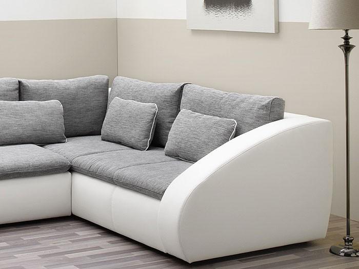 polsterecke starla 283x230cm grau wei sofa couch schlafsofa bettfunktion ebay. Black Bedroom Furniture Sets. Home Design Ideas