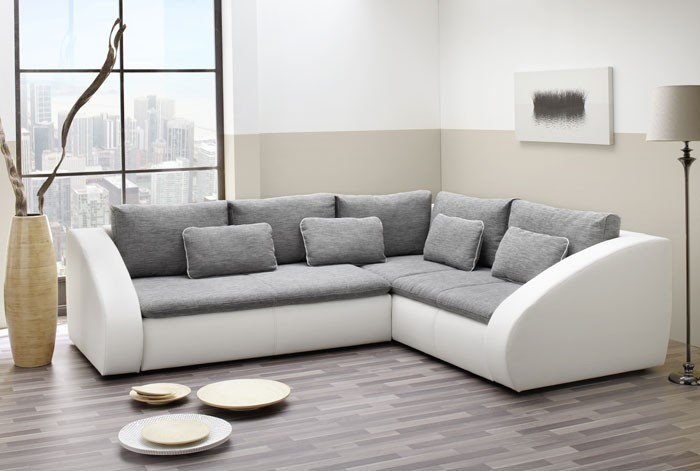 polsterecke starla 283x230cm grau wei sofa couch schlafsofa bettfunktion ebay. Black Bedroom Furniture Sets. Home Design Ideas