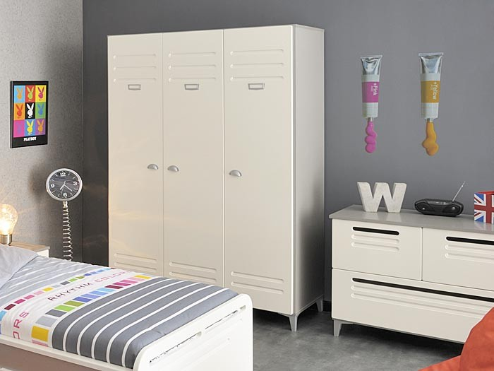 kinderzimmer lavoro 1 wei grau silber 6 tlg schrank bett nachttisch kommode ebay. Black Bedroom Furniture Sets. Home Design Ideas