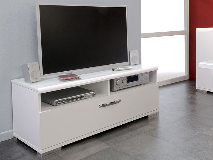 tv lowboard arktur 1 121x49x47 lowboard weiss hochglanz tv board tv tisch ebay. Black Bedroom Furniture Sets. Home Design Ideas